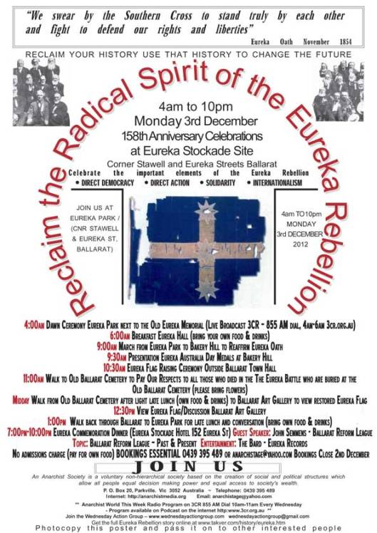 Reclaim the Radical Spirit of Eureka Events for Dec 3 2012