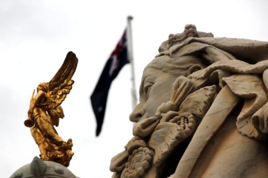 Australian flag atop Ballarat Town Hall as if Queen Victoria still reigns