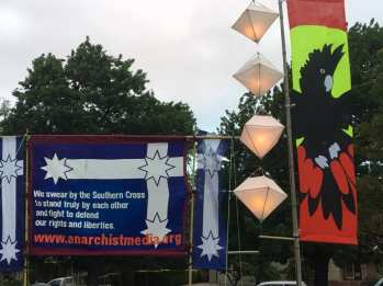 Banner and lanterns